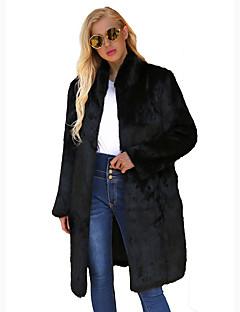billiga Dampälsar och läder-Dam Utekväll / Arbete Sofistikerat Höst / Vinter Maxi Fur Coat, Enfärgad Polokrage Långärmad Tvättbjörnspäls Svart XL / XXL / XXXL / Sexig