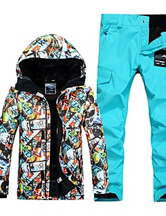 billiga Skid- och snowboardkläder-GSOU SNOW Herr Skidjacka och -byxor Vindtät, Vattentät, Varm Skidåkning / Vintersport POLY Klädesset Skidkläder