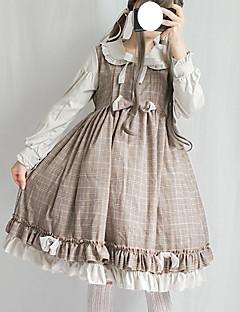 billiga Lolitamode-Söt Lolita Skol-Lolita söt stil Dam Klänningar Cosplay Grå / Kaffe Juliet Långärmad Midi Halloweenkostymer