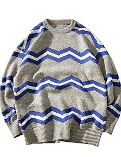 tanie Męskie swetry i swetry rozpinane-Męskie Wełna Weekend Okrągły dekolt Luźna Pulower Kolorowy blok Długi rękaw