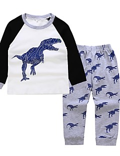 cheap Cool Boys' Clothing New In-Kids / Toddler Boys' Active / Basic Daily / Sports Dragon Print Print Long Sleeve Regular Cotton / Polyester Clothing Set Gray 2-3 Years(100cm)