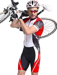 billige Sykkelklær-Nuckily Herre Kortermet Triathlondrakt - Rød Geometrisk Sykkel Anatomisk design, Ultraviolet Motstandsdyktig, Pustende Polyester, Spandex Stribe / Elastisk / SBS glidelås