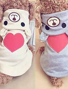 billiga Hundkläder-Hund / Katt Huvtröjor / Jumpsuits Hundkläder Hjärta / Figur Beige / Grå Tyg Kostym För husdjur Dam One Piece