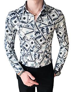 billige Bestselgere-Tynn Klassisk krage Skjorte Herre - Fargeblokk / Dyr / Langermet