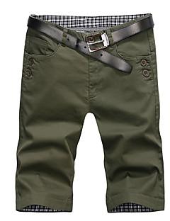 billige Herrebukser og -shorts-menns bomulls slanke shortsbukser - solidfarget