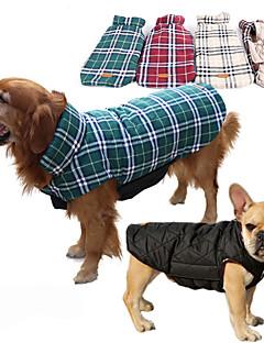 billiga Hundkläder-Hund Kappor Väst Hundkläder Pläd/Rutig Beige Brun Röd Grön Cotton Kostym För husdjur Herr Dam Vändbar Håller värmen
