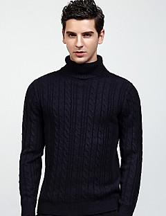 baratos Suéteres & Cardigans Masculinos-cardigan de manga comprida plus size para homem - gola alta de cor sólida