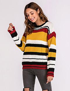 baratos Suéteres de Mulher-Mulheres Activo / Básico Pulôver - Estampa Colorida, Patchwork