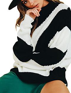 baratos Suéteres de Mulher-Mulheres Básico / Moda de Rua Pulôver - Listrado
