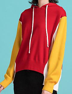 tanie Swetry damskie-Damskie Codzienny Moda miejska Kolorowy blok Długi rękaw Regularny Pulower, Kaptur Niebieski / Czarny / Czerwony Jeden rozmiar