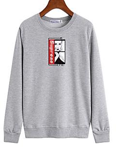 baratos Moletons com Capuz e Sem Capuz Femininos-camisola de algodão de manga comprida feminina / masculina - desenho animado / gola redonda de cor sólida
