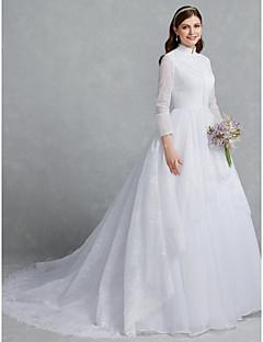 billiga A-linjeformade brudklänningar-Prinsessa Hög hals Kapellsläp Spets / Tyll Bröllopsklänningar tillverkade med Knappar / Spets av LAN TING BRIDE®