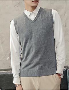tanie Męskie swetry i swetry rozpinane-Męskie Wyjściowe Solidne kolory Długi rękaw Szczupła Regularny Kamizelka, W serek Granatowy / Szary / Wino XL / XXL / XXXL