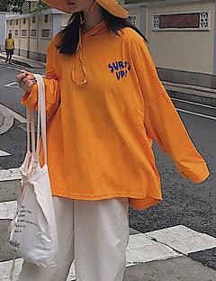 Χαμηλού Κόστους Μακριά φούτερ με κουκούλα-Γυναικεία Κομψό στυλ street Φούτερ με Κουκούλα - Κινούμενα σχέδια / Γράμμα