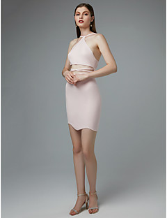 baratos Vestidos de Formatura-Tubinho Com Alças Finas Curto / Mini Elastano Frente Única Vestido com Cruzado de TS Couture®