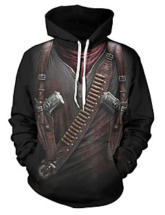 cheap Men's Hoodies & Sweatshirts-Men's Plus Size Sports Exaggerated Long Sleeve Loose Hoodie - Color Block / 3D Print / Skull Print Hooded Black XXL / Fall / Winter