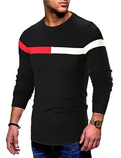 baratos Suéteres & Cardigans Masculinos-Homens Básico Pulôver - Sólido / Listrado