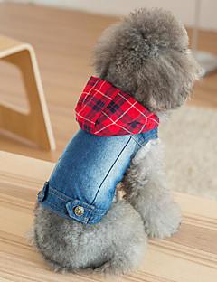 billiga Hundkläder-Hund / Katt Jeansjackor Hundkläder Pläd / Rutig / Lappverk Röd Denim Kostym För husdjur Unisex Stilig / Cowboy