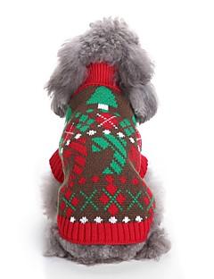 billiga Hundkläder-Hund Tröjor Hundkläder Blommig / Botanisk / Jul Röd / Blå Terylen Kostym För husdjur Unisex Fest / afton / Jul