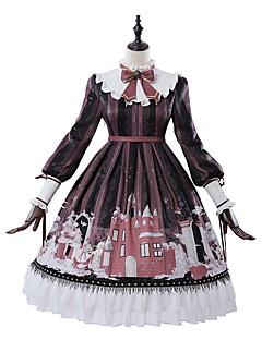 billiga Lolitamode-Klassisk / Traditionell Lolita Casual Lolita Klänning Skol-Lolita Victoriansk Dam Klänningar Cosplay Röd Biskop Långärmad Knälång Kostymer