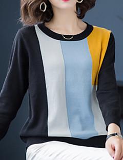 baratos Suéteres de Mulher-pullover de manga longa de fim de semana das mulheres - bloco de cor em volta do pescoço