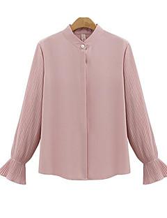 billige Bluse-kvinders løse bluse - solid farvet rund hals