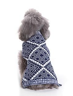 billiga Hundkläder-Hund Tröjor Hundkläder Geometrisk / Färgat garn / Figur Röd / Blå Terylen Kostym För husdjur Unisex Ledigt / vardag / Minimalistisk Stil