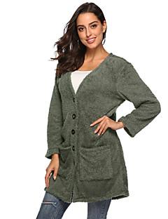 baratos Suéteres de Mulher-cardigan longo solto de manga comprida feminino - colorido sólido