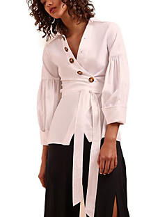 billige Skjorte-Kvinders tynde skjorte - solid farvet v-hals