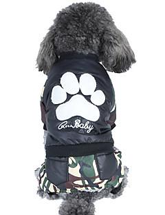 billiga Hundkläder-Hund / Katt Kappor / Jumpsuits Hundkläder Färgblock / Kamuflasje Grå / Grön Cotton Kostym För husdjur Unisex Håller värmen / Punk