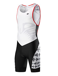 billige Sykkelklær-SANTIC Herre Ermeløs Triathlondrakt - Svart / Hvit Reaktivt Trykk Sykkel Triatlon, Pustende Elastan Terylene / Elastisk