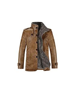 Χαμηλού Κόστους Men's Leather Jackets-Ανδρικά Καθημερινά Βασικό Φθινόπωρο / Χειμώνας Μεγάλα Μεγέθη Κανονικό Σακάκι, Μονόχρωμο Όρθιος Γιακάς Μακρυμάνικο PU Καφέ / Μαύρο / Χακί XXL / XXXL / XXXXL