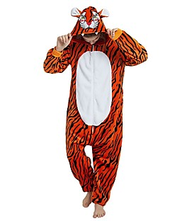 billige Kigurumi-Voksne Kigurumi-pysjamas Tiger Onesie-pysjamas Flannelstoff Oransje Cosplay Til Damer og Herrer Pysjamas med dyremotiv Tegnefilm Festival / høytid kostymer / Stribe