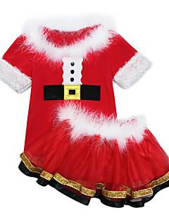 billige julen Kostymer-Nisse drakter Cosplay Kostumer Gutt Jente Barne Jul Jul Nytt År Festival / høytid Drakter Rød Ferie