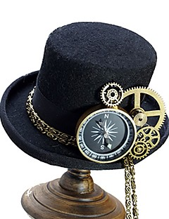 billiga Lolitaaccessoarer-Cosplay Plague Doctor Steampunk Kostym Alla Hattar hatt Svart / Brun Vintage Cosplay Krom Specialmaterial