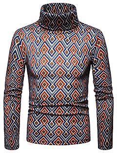 baratos Suéteres & Cardigans Masculinos-Homens Básico / Moda de Rua Pulôver - Geométrica / Estampa Colorida