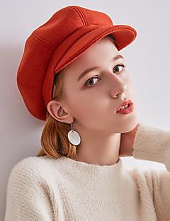 billige Hatter til damer-Dame Vintage / Fest Beret / Bowlerhatter / Fedora Ensfarget
