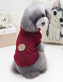 billiga Hundkläder-Hund / Katt Tröjor Hundkläder Enfärgad / Bokstav & Nummer Grå / Fuchsia / Blå Ull Kostym För husdjur Unisex Ledigt / vardag / Uppvärmning