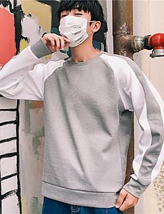 billiga Träning-, jogging- och yogakläder-Herr Rund hals Lappverk T-shirt för jogging - Röd, Blå, Grå sporter Färgblock Elastan Överdelar Löpning, Fitness, Gym Långärmad Sportkläder Andningsfunktion, Snabb tork Microelastisk / Vinter