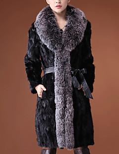 billiga Dampälsar och läder-Dam Dagligen / Utekväll Streetchic / Sofistikerat Vår / Höst vinter Lång Fur Coat, Färgblock V-hals Långärmad Fuskpäls Svart XL / XXL / XXXL