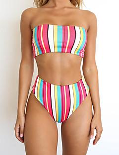 f5f16cca15 Women s Basic Boho Strapless Rainbow Triangle Cheeky Bikini Swimwear -  Striped Floral Color Block Backless Print M L XL Rainbow   Super Sexy