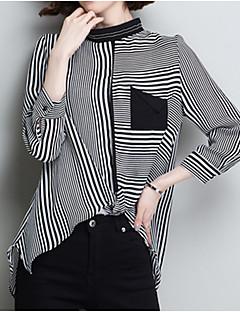 billige Bluse-Dame - Stribet Patchwork Basale Bluse Sort og hvid