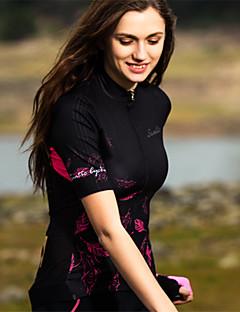 billige Sykkelklær-SANTIC Dame Kortermet Sykkeljersey - Svart Reaktivt Trykk Sykkel Jersey Elastan Terylene / Elastisk