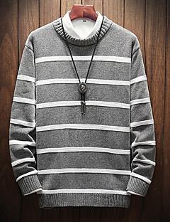 baratos Suéteres & Cardigans Masculinos-pullover de manga longa masculina - listrado