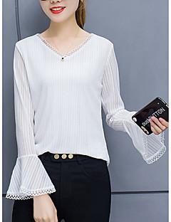 billige T-shirt-Dame - Ensfarvet Udskæring Basale / Gade T-shirt