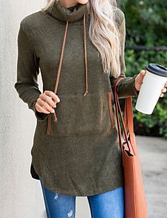 tanie Damskie bluzy z kapturem-Damskie Podstawowy Długie Bluza dresowa - Solidne kolory, Kaptur Golf