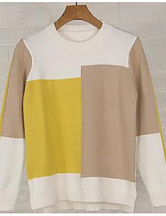 baratos Suéteres de Mulher-pullover de manga longa feminina - bloco de cor