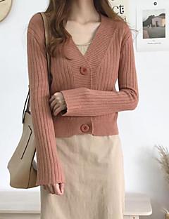 billige Kvinde Toppe-Dame I-byen-tøj Ensfarvet Langærmet Normal Cardigan Lysebrun / Army Grøn / Kakifarvet En Størrelse