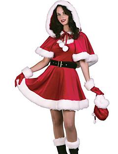 billige julen Kostymer-Cosplay Kostumer Santa Clothe Dame Tenåring Voksne Jul Jul Nytt År Festival / høytid Terylene Drakter Rød Ferie