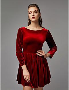 billiga Balklänningar-A-linje Båthals Kort / mini Sammet Cocktailfest Klänning med av TS Couture®
